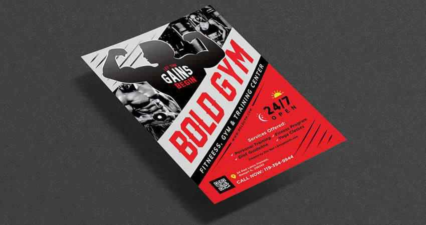 Gym Body Training Fitness Flyer Template Photoshop PSD