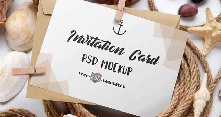 Invitation Card Mockup Templates Photoshop PSD