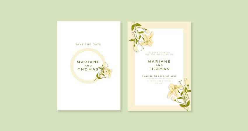Minimalistic Floral Wedding Invitation Vector Template Vector Illustrator EPS