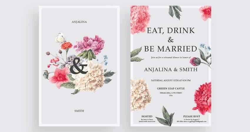 Modern Wedding Invitation Templates AI EPS