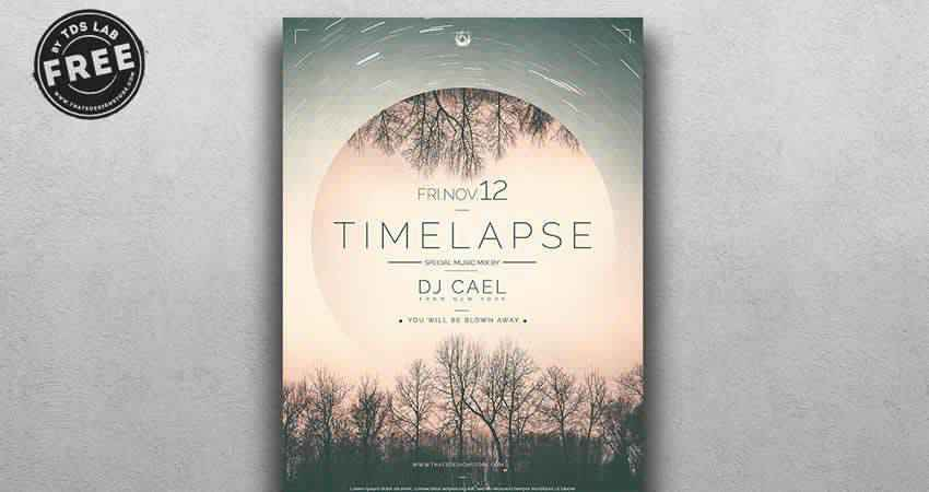 Time Lapse DJ Event Flyer Template Photoshop PSD
