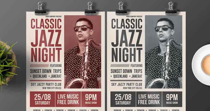 Classic Jazz Night Flyer Template Photoshop PSD AI