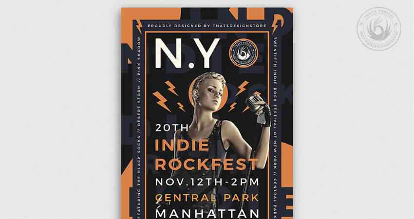 Indie Rock Flyer Template Photoshop PSD