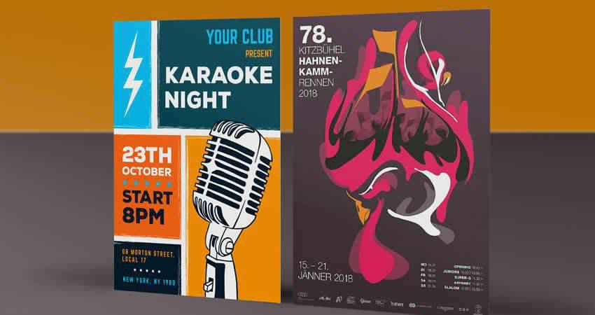 Karaoke Night Flyer Template Mockup Template Photoshop PSD