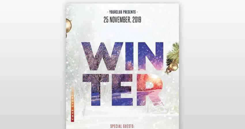 Winter Season Club Flyer Template Photoshop PSD