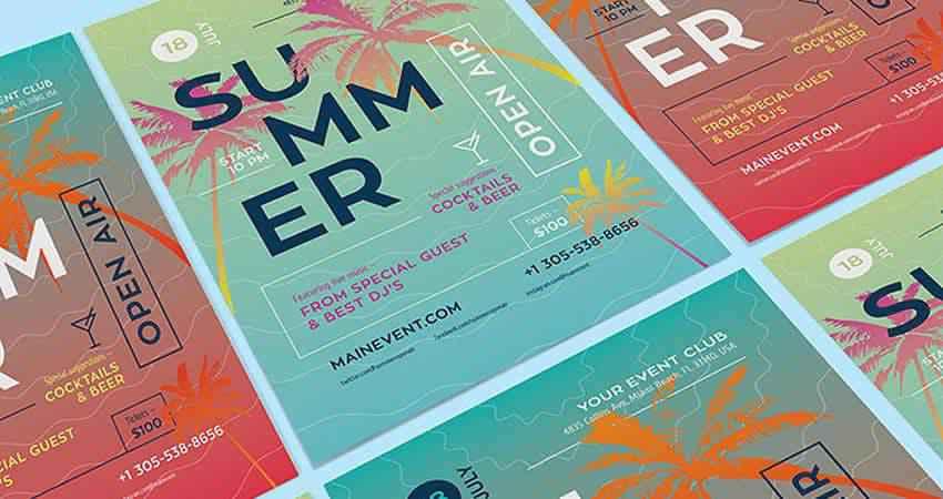 Summer Open Air Concert Flyer Template AI Illustrator EPS