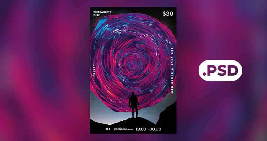 Abstract Music Flyer Template Photoshop PSD