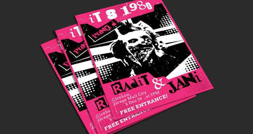 Punk Music Flyer Template AI Illustrator EPS