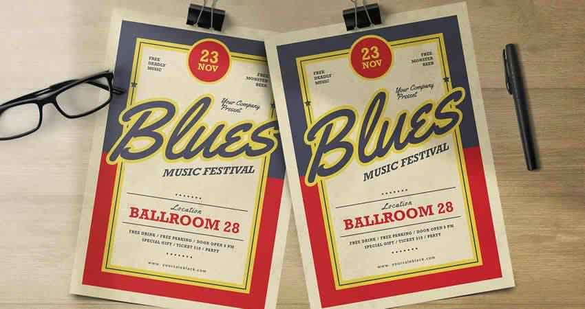 Blues Music Flyer Template Photoshop PSD AI