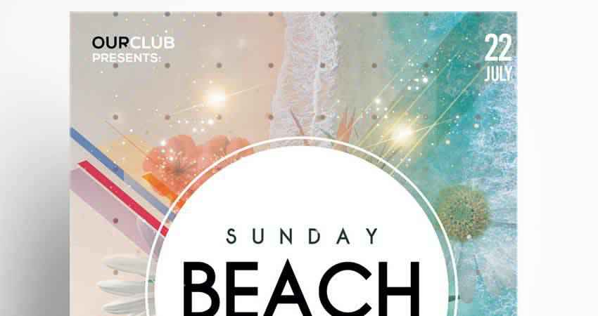 Sunday Beach Party Flyer Template Photoshop PSD