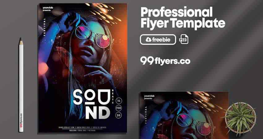 Club Sound Flyer Template Photoshop PSD