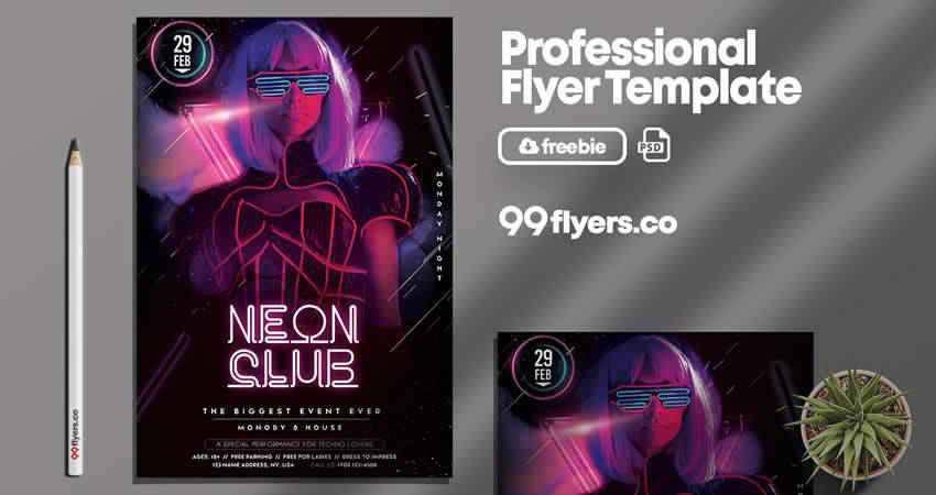 Neon Club Flyer Template Photoshop PSD
