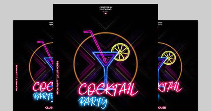 Neon Party Flyer Template Photoshop PSD