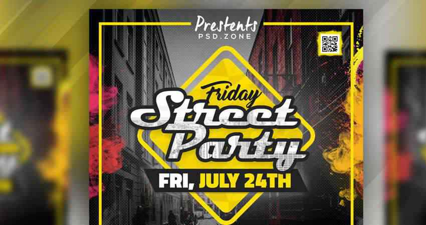 Street Party Flyer Template Photoshop PSD