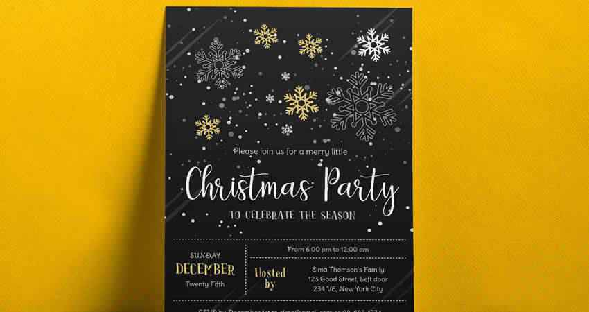 Christmas Party Flyer Vector Template Photoshop PSD