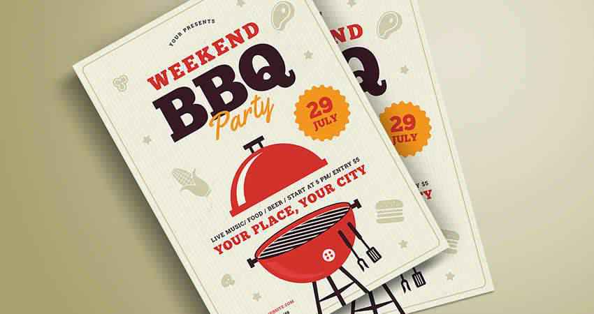 Barbeque Party Flyer Template Photoshop PSD