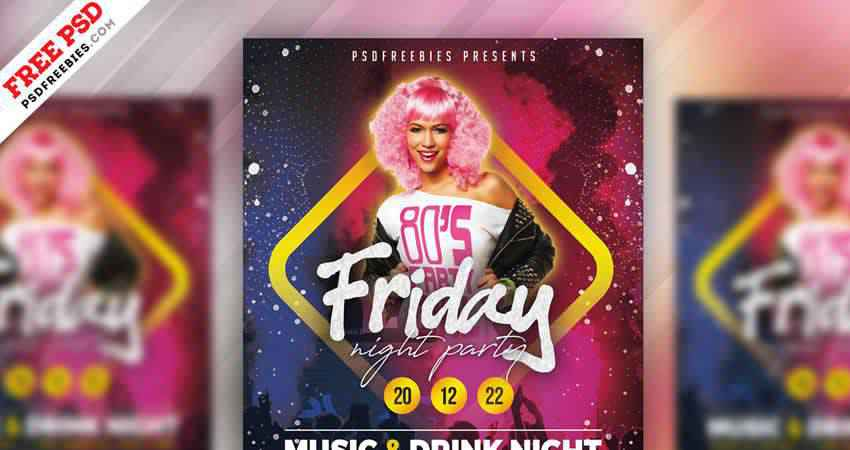 Friday Night Party Flyer Template Photoshop PSD