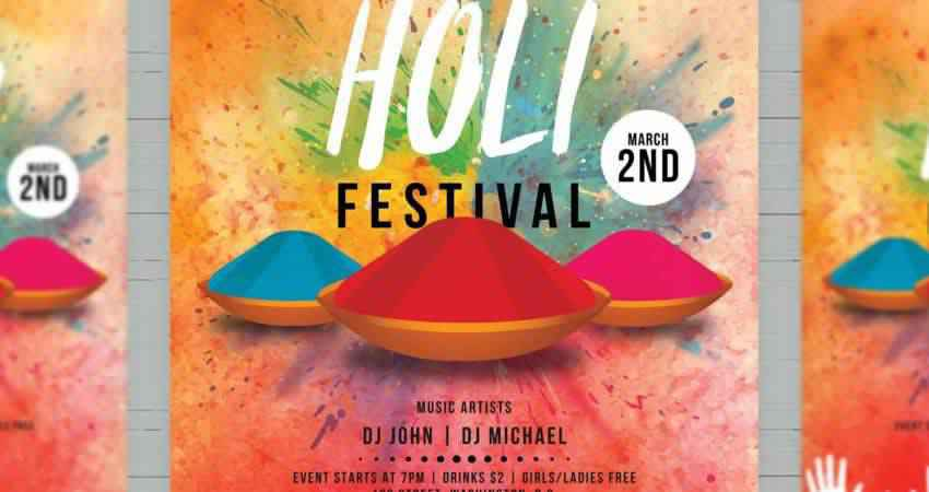 Holi Festival Flyer Template Photoshop PSD