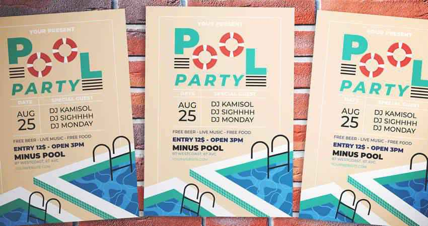 Pool Party Flyer Template Photoshop PSD AI