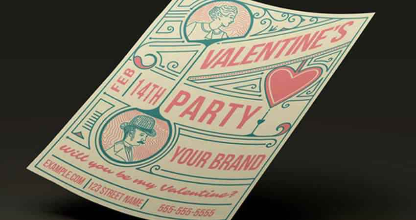 Retro Valentines Day Party Flyer Template Photoshop PSD