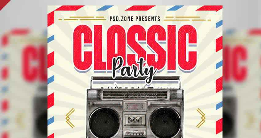 Retro Style Classic Party Flyer Template Photoshop PSD