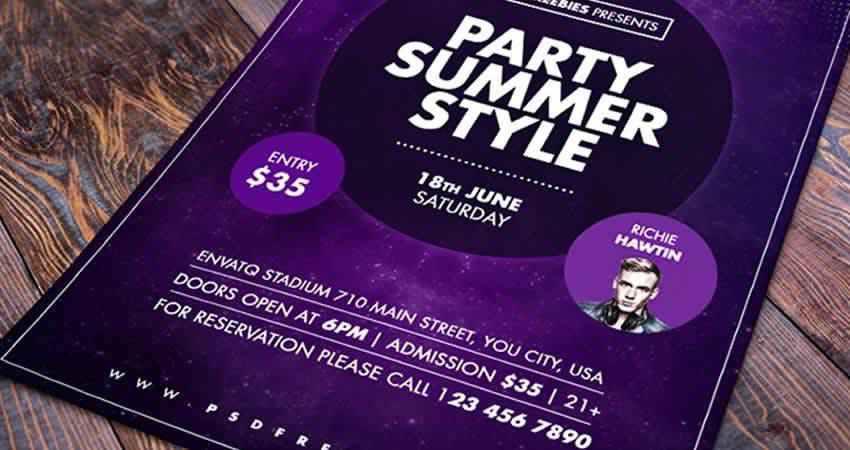 Summer Party Flyer Template Photoshop PSD