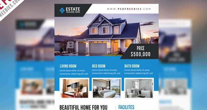 Clean Real Estate Flyer Template Photoshop PSD