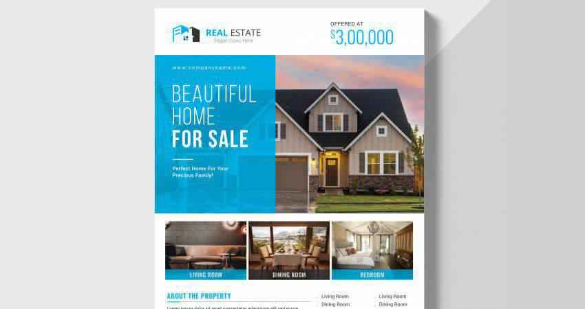 Beautiful Home Real Estate Flyer Template Photoshop PSD
