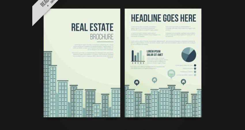 Flat Buildings Real Estate Flyer Vector Template Photoshop PSD