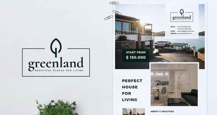 Greenland Real Estate Flyer Template Photoshop PSD