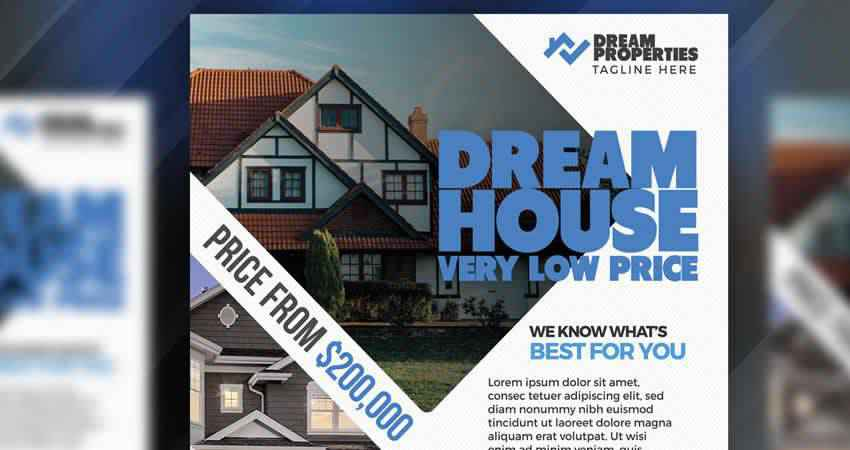 Dream House Real Estate Flyer Template Photoshop PSD