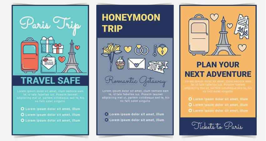 Vector Illustrated Travel Flyer Templates AI EPS SVG