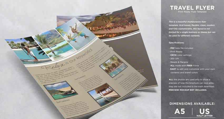 Relax & Travel Flyer Template Photoshop PSD AI
