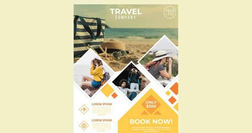 Travel Company Vector Flyer Template Illustrator EPS