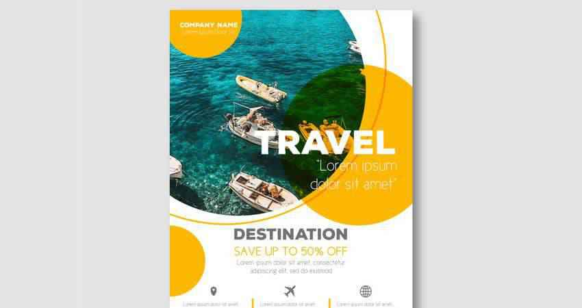 Travel Destination Vector Flyer Template Illustrator EPS