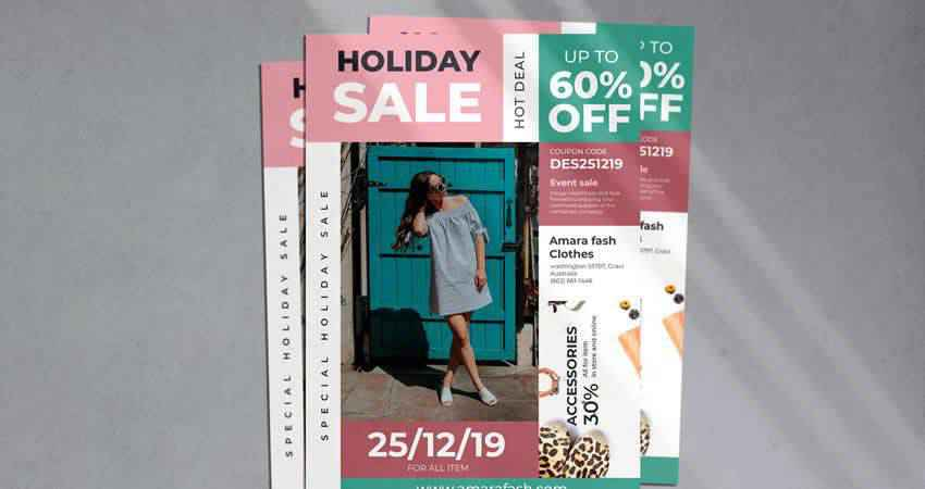 Holiday Sale Flyer Photoshop PSD AI EPS