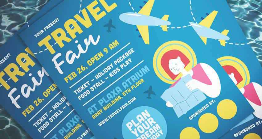 Illustrated Travel Flyer Template Photoshop PSD AI