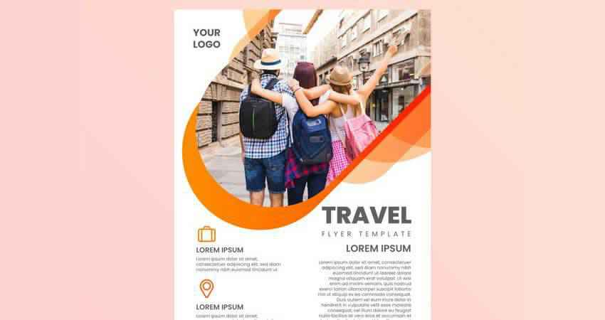 Traveling Friends on Holiday Vector Flyer Template Illustrator EPS