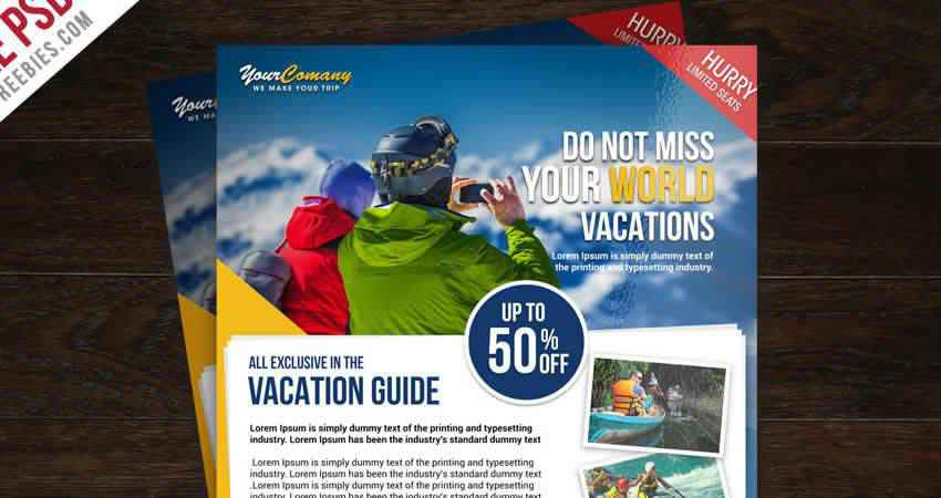 Travel Tour and Vacation Flyer Template Photoshop PSD