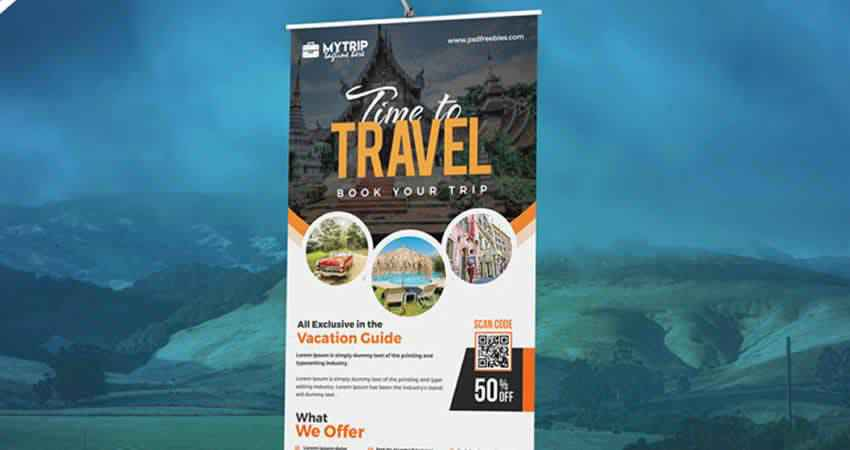 Tour Travel Roll-Up Banner & Flyer Template Photoshop PSD
