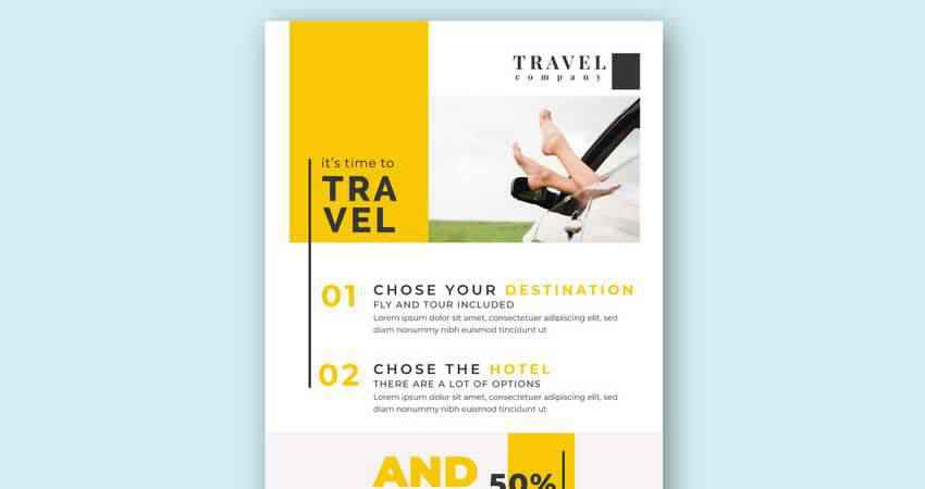 Modern Travel Flyer Vector Template Photoshop PSD