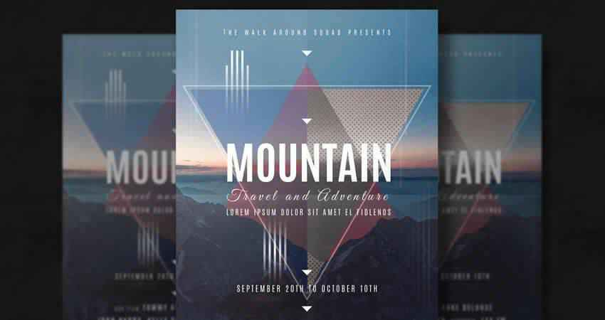 Mountain Holiday Travel Flyer Template Photoshop PSD