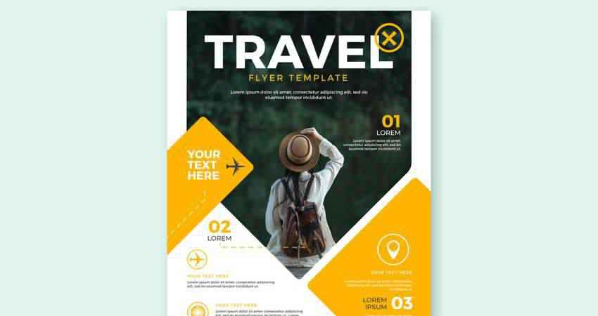 Vector Travel Flyer Template Illustrator EPS