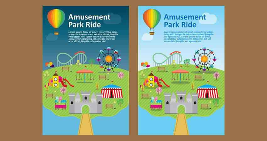 Amusement Park Flyer Vector Template AI
