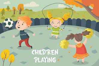 Children Playing Illustration