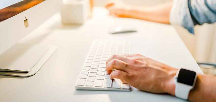 Person using a computer.