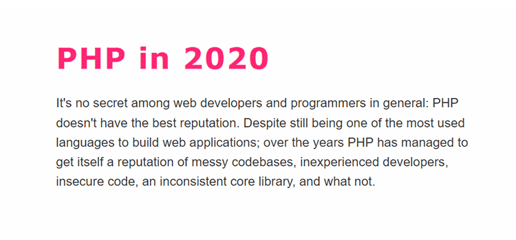 Example from PHP in 2020
