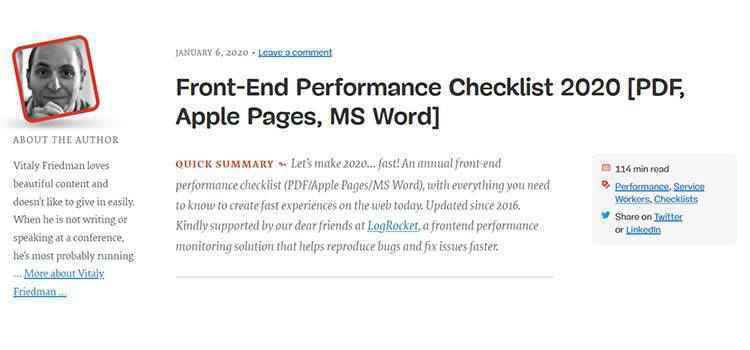 Example from Front-End Performance Checklist 2020