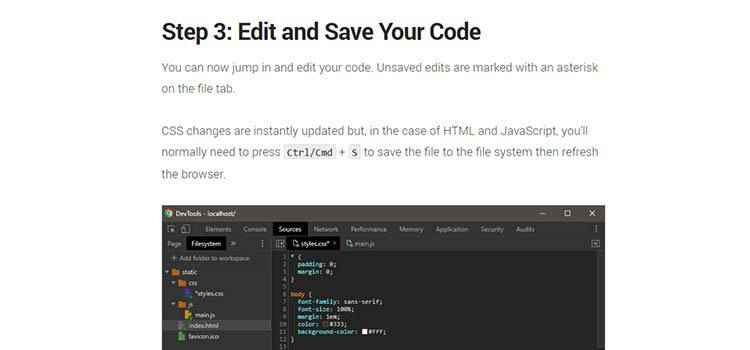 Example from How to Edit Source Files Directly in Chrome