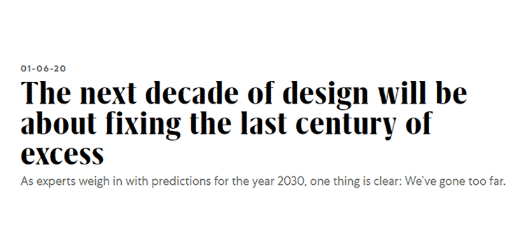 Example from The next decade of design will be about fixing the last century of excess